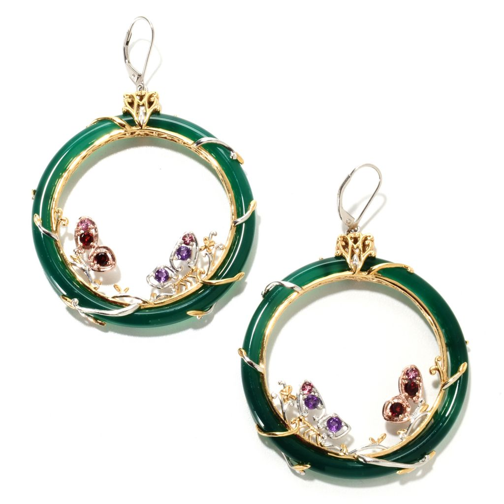 "135-193 - Gems en Vogue II 2.75"" 1.32ctw Multi Gemstone & Agate Circle Drop Earrings"