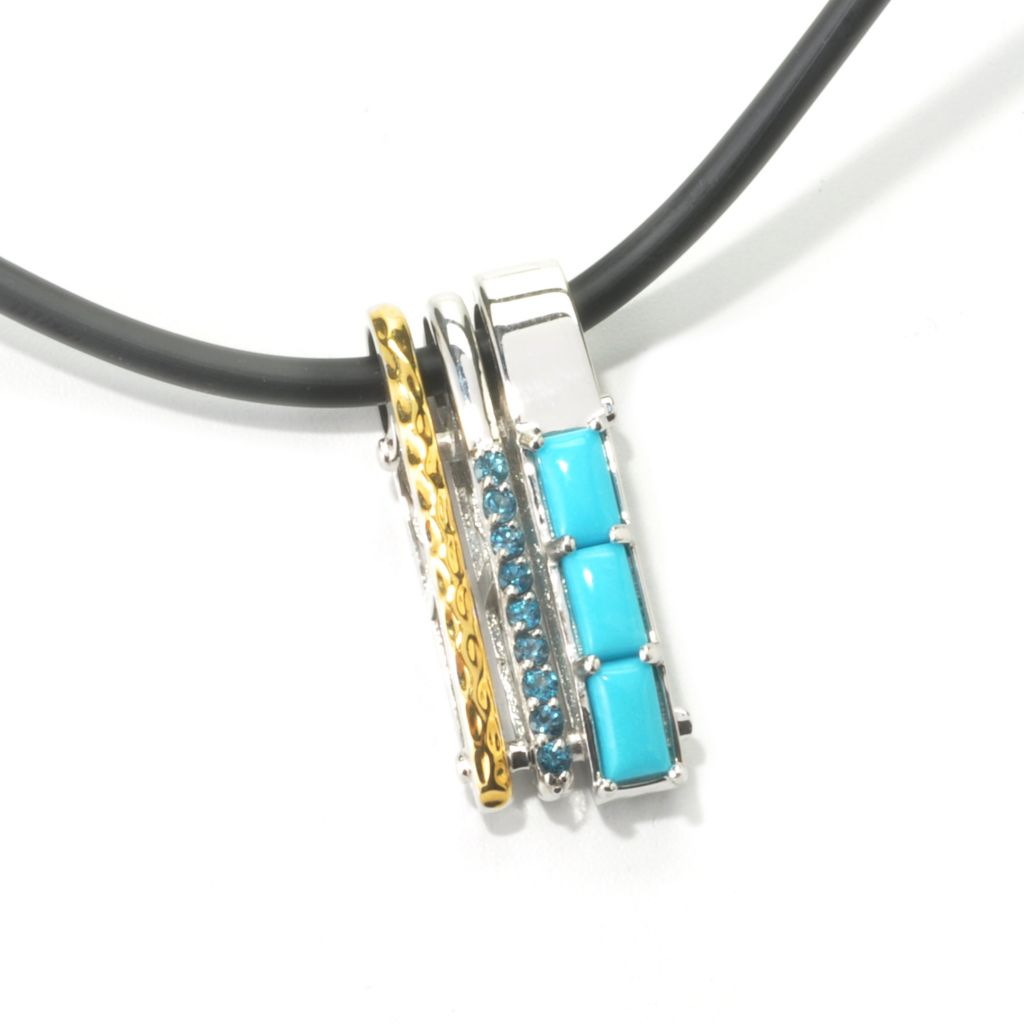 "135-198 - Men's en Vogue II Sleeping Beauty Turquoise & London Blue Topaz Pendant w/ 22"" Rubber Cord"
