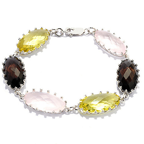 135-200 - Dallas Prince Sterling Silver 22 x 11mm Multi Color Quartz Crown Bracelet