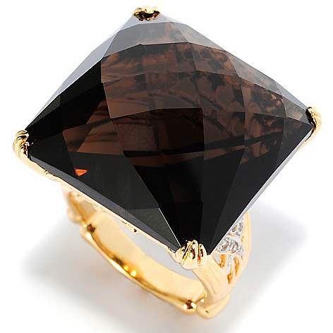 135-201 - Dallas Prince Designs 22mm Square Checkerboard Smoky Quartz & White Zircon Ring