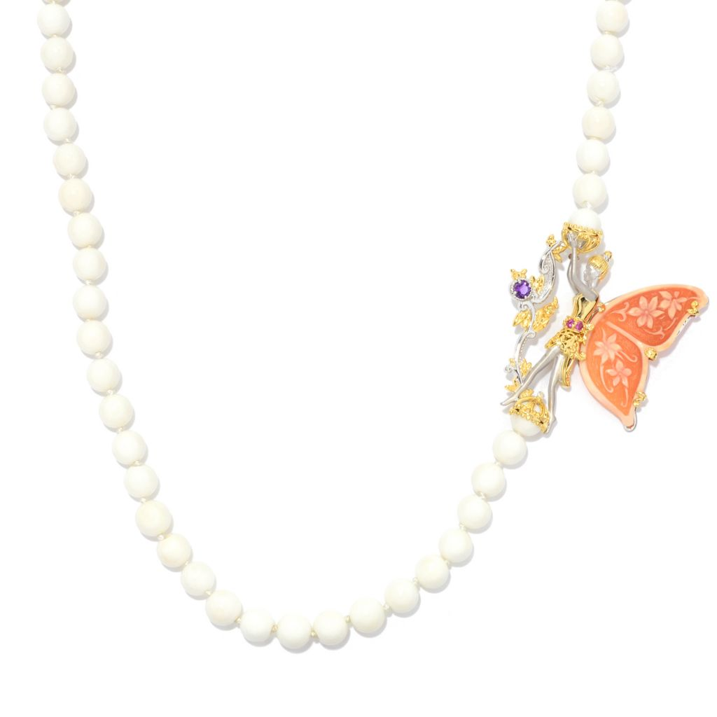 "135-203 - Gems en Vogue II 28"" Carved Shell & Multi Gem Fairy Cultured Pearl Necklace"