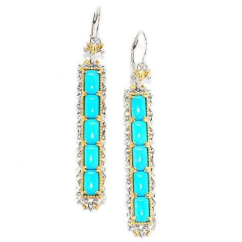 135-208 - Gems en Vogue 2.25'' Sleeping Beauty Turquoise Elongated Drop Earrings