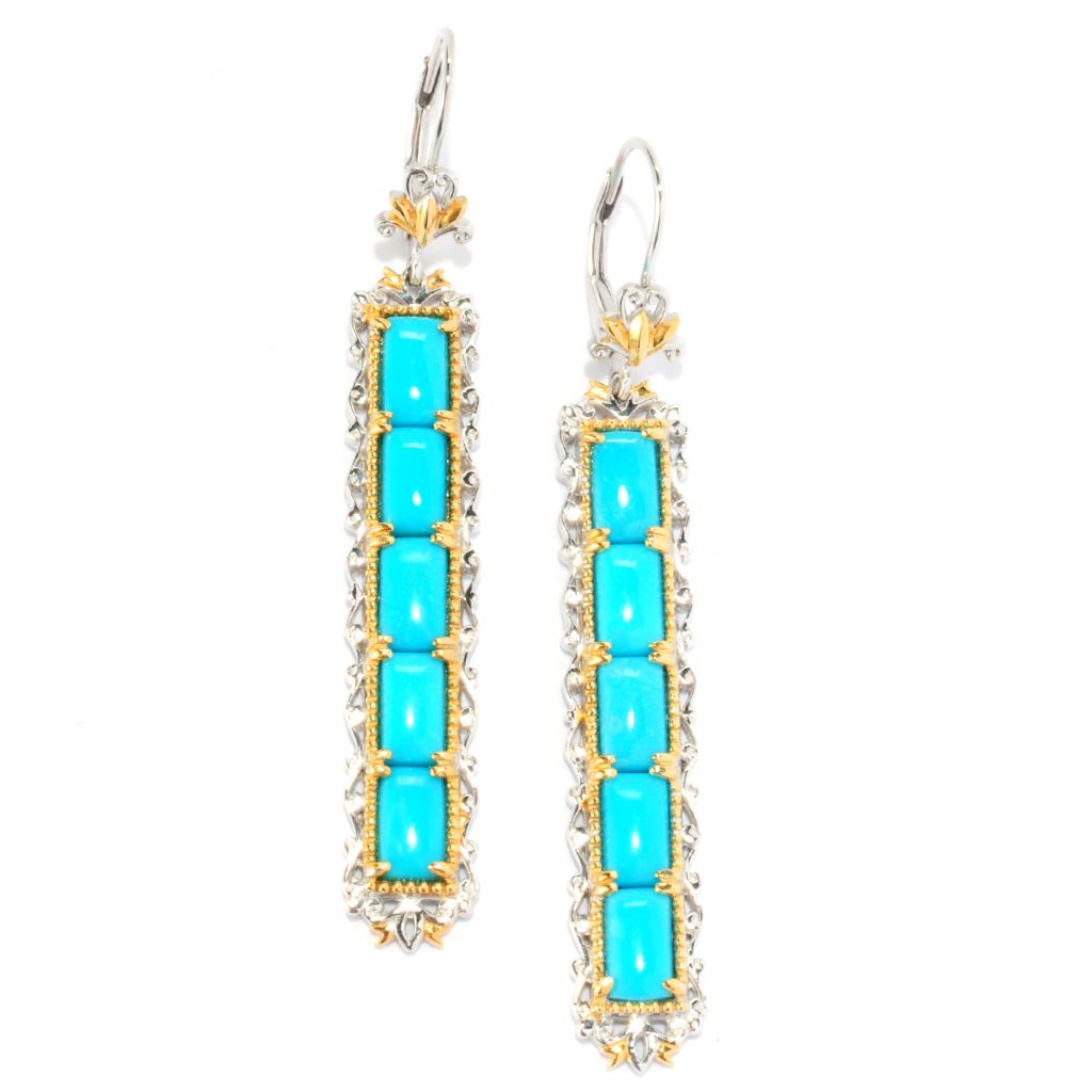 "135-208 - Gems en Vogue II 2.25"" Sleeping Beauty Turquoise Elongated Drop Earrings"