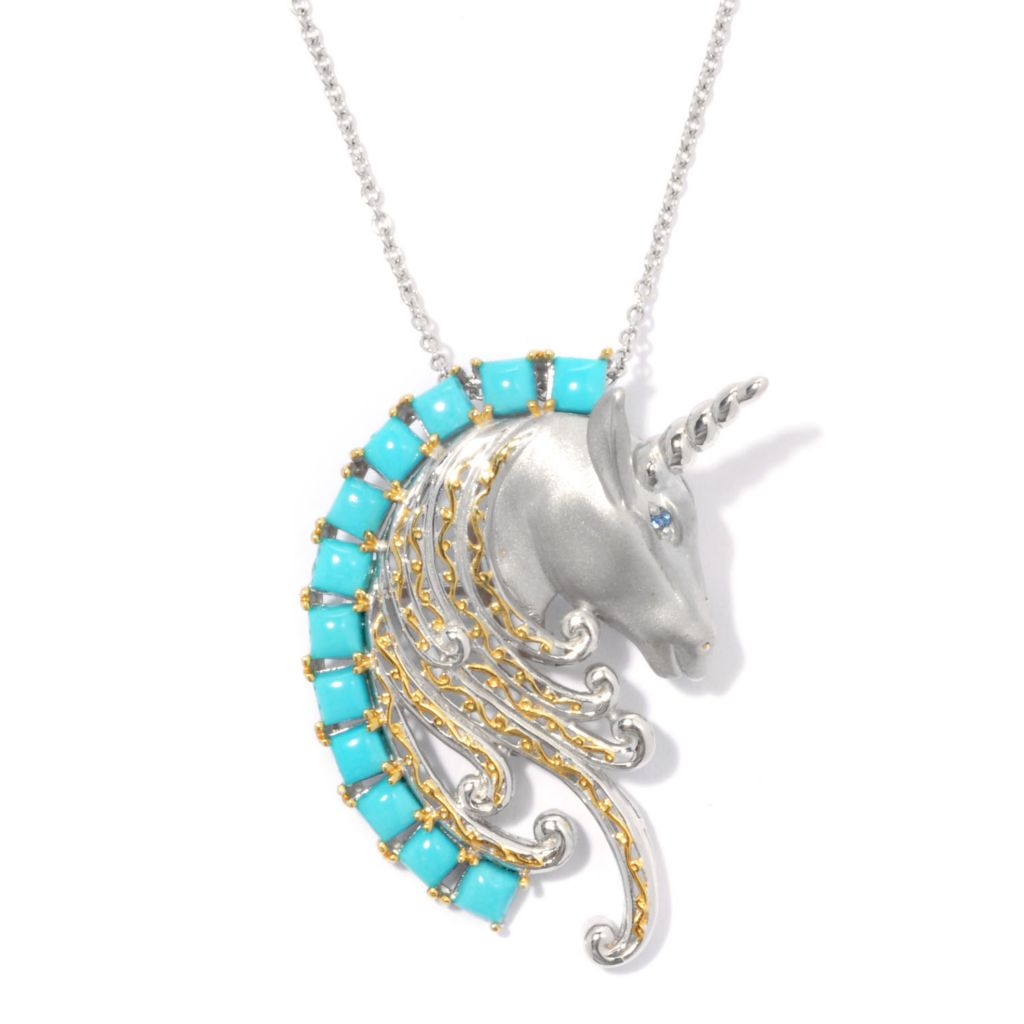 135-209 - Gems en Vogue Sleeping Beauty Turquoise & London Blue Topaz Unicorn Pin/Pendant