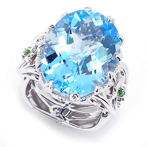 135-214 - Dallas Prince Designs Sterling Silver 20 x 15mm Oval Swiss Blue Topaz & Chrome Diopside Ring
