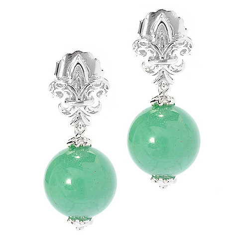 135-215 - Dallas Prince Designs Sterling Silver 14mm Aventurine 1.25'' Fleur-de-lis Drop Earrings