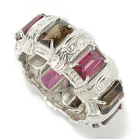 135-219 - Dallas Prince Designs Sterling Silver 4.00ctw Smoky Quartz & Rhodolite Eternity Band Ring