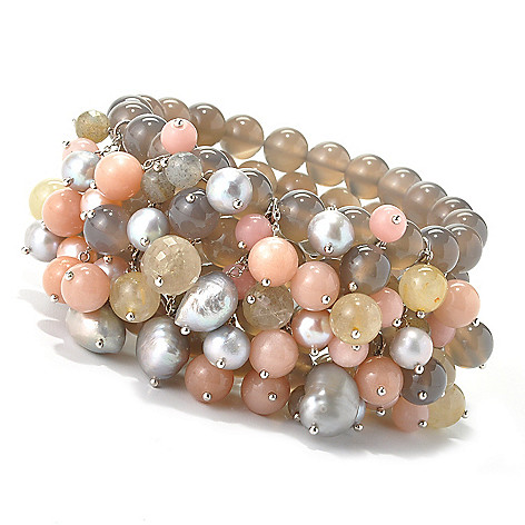 135-224 - Dallas Prince Designs Sterling Silver Cultured Pearl & Multi Gemstone Stretch Bracelet