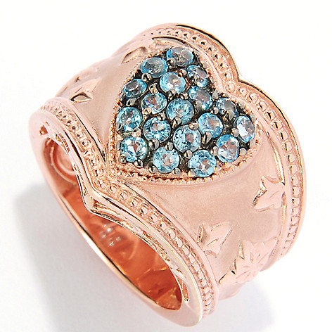 135-226 - Dallas Prince Swiss Blue Topaz Heart Cluster Wide Band Ring