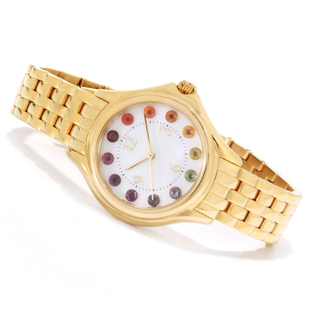 135-228 - NYC II Women's Multi Gemstone Exotic Rainbow Stainless Steel Bracelet Watch