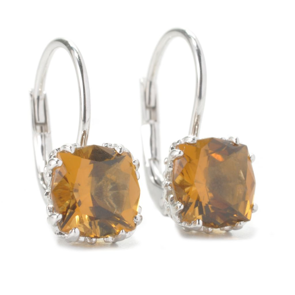 135-229 - Gem Treasures Sterling Silver 8mm Square Shaped Quartz Crown Drop Earrings