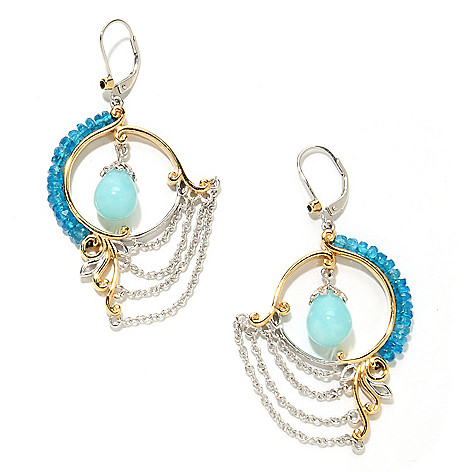 135-231 - Gems en Vogue II 2.25'' 10 x 8mm Amazonite Bead & Neon Apatite Chain Drape Earrings