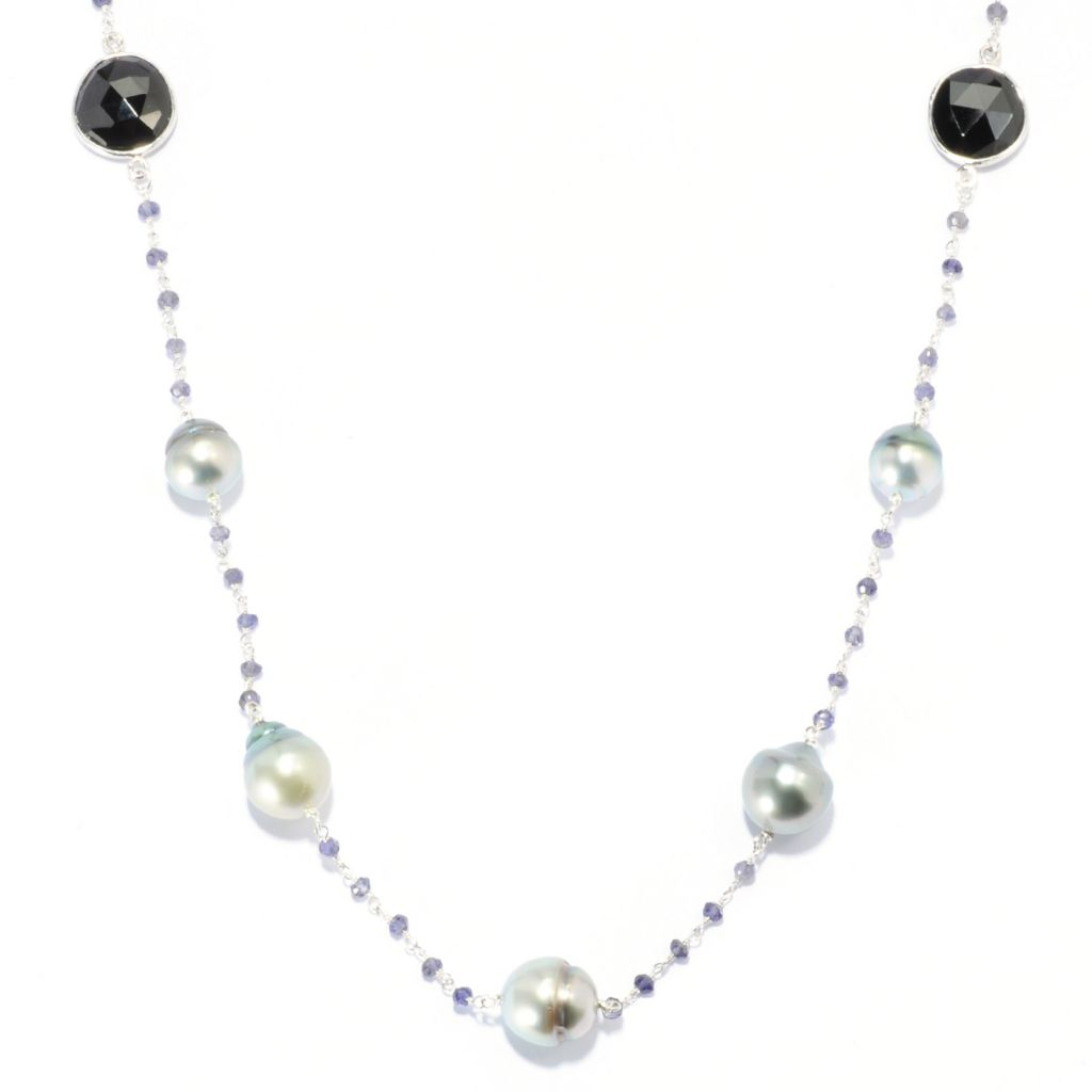 "135-235 - Sterling Silver 36"" 9-11mm Grey Tahitian Cultured Pearl, Spinel & Iolite Necklace"