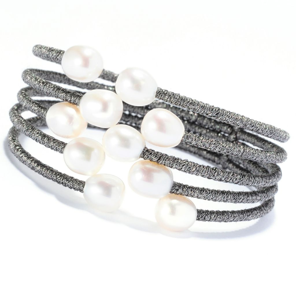 "135-238 - 6.75"" 8-9mm White Freshwater Cultured Pearl Staggered Five-Row Bangle Bracelet"