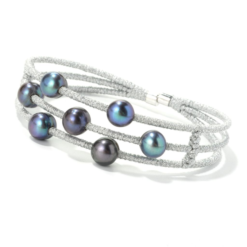 "135-239 - Sterling Silver 7"" 8-9mm Dyed Black Freshwater Cultured Pearl Three-Row Bracelet"