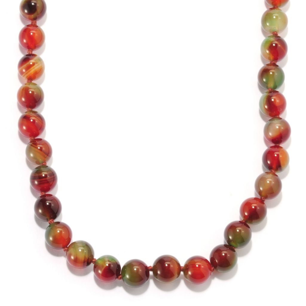 "135-241 - Sterling Silver 18"" 10mm Dyed Agate Beaded Necklace w/ Magnetic Clasp"