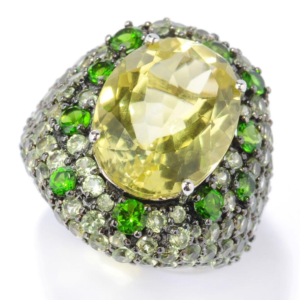 135-245 - NYC II 16 x 12mm Oval & Pave Set Multi Gemstone Cocktail Ring