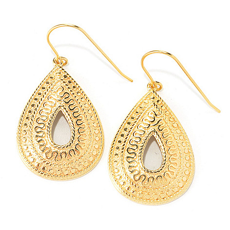 135-246 - Jaipur Bazaar 18K Gold Embraced™ 1.75'' Textured Pear Shaped Drop Earrings