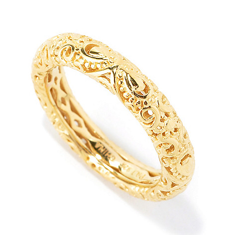 135-251 - Jaipur Bazaar 18K Gold Embraced™ Filigree Stack Band Ring