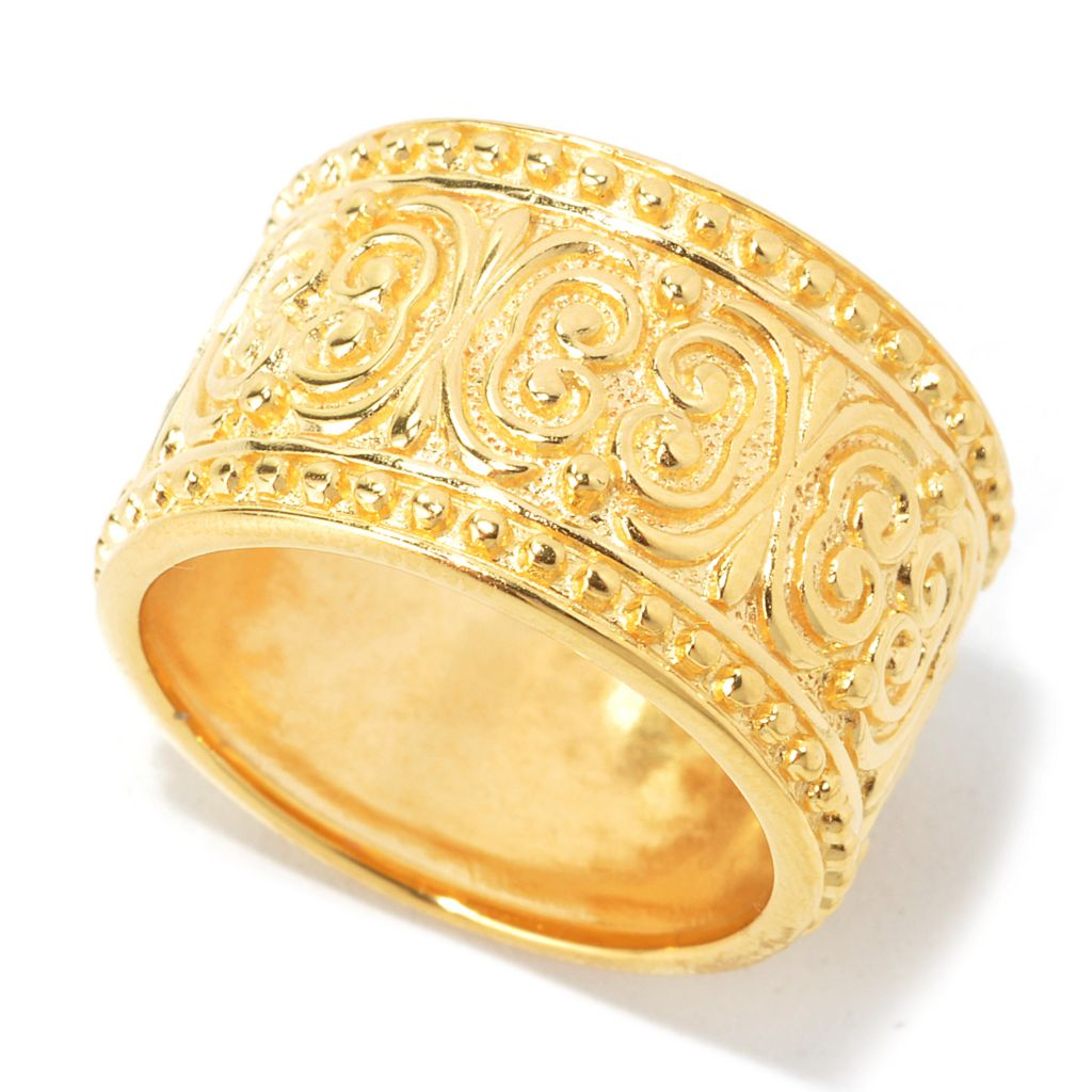 135-252 - Jaipur Bazaar 18K Gold Embraced™ Ornate Textured Beaded Edge Eternity Band Ring