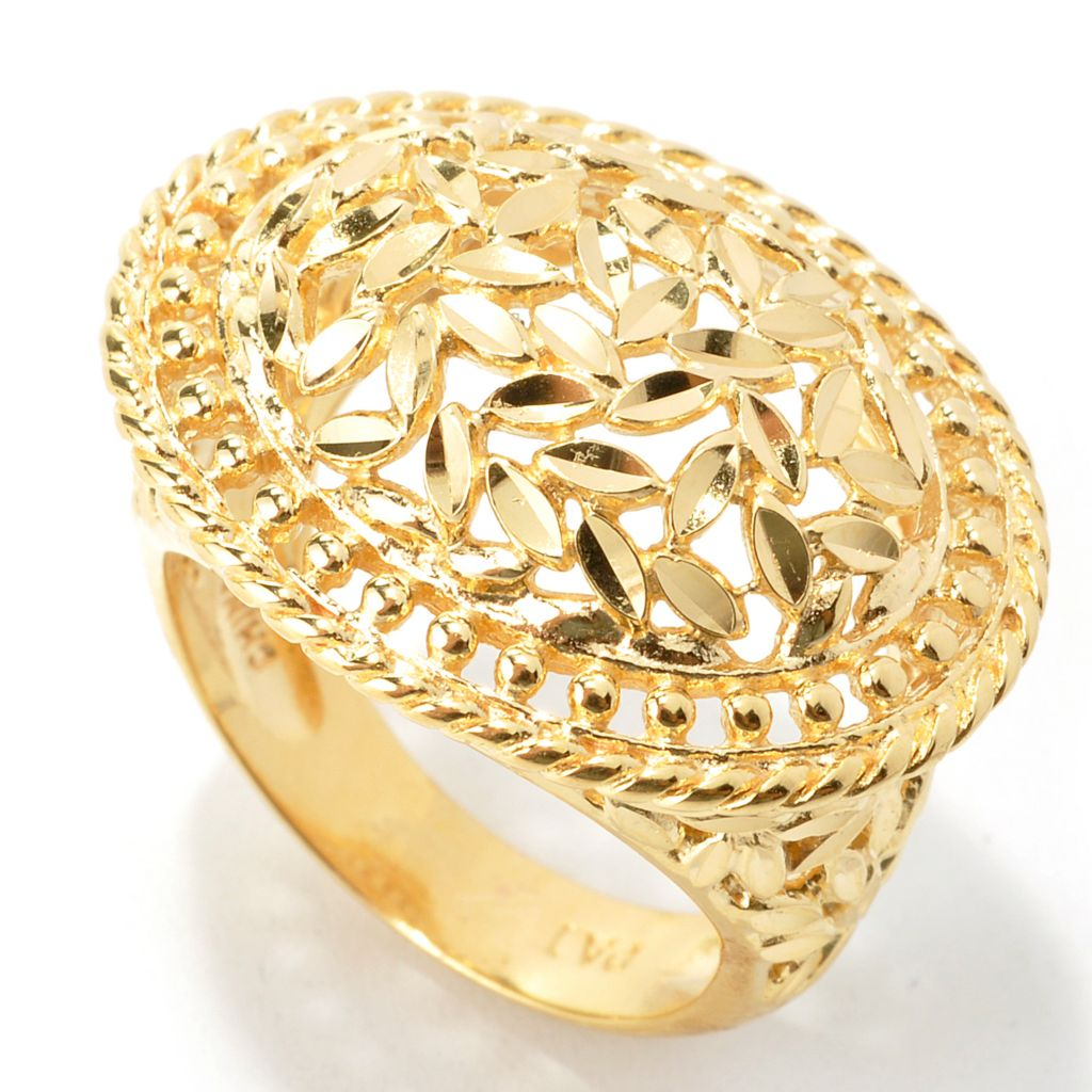 135-253 - Jaipur Bazaar Gold 18K Embraced™ Diamond Cut Floral Dome Ring