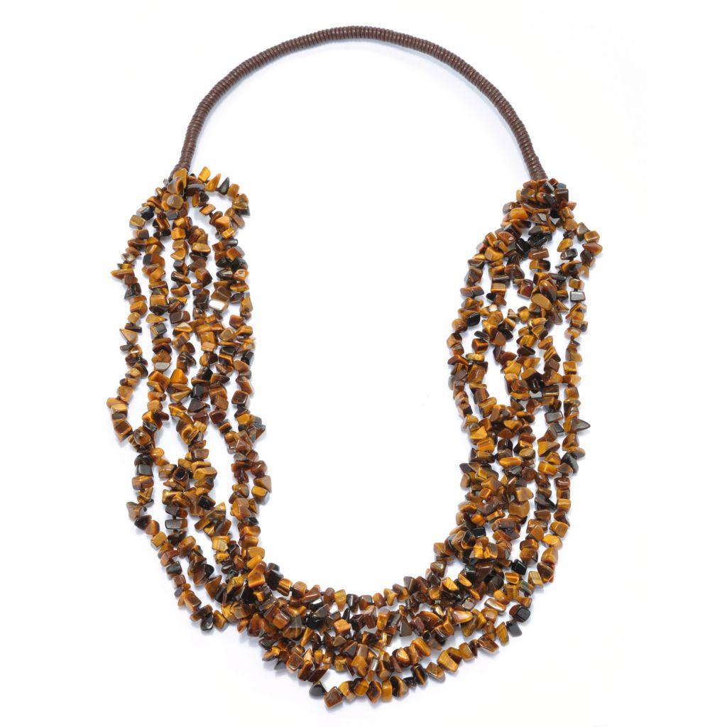 "135-256 - Gem Treasures Leather 31"" Gemstone Chip Multi Strand Nested Necklace"