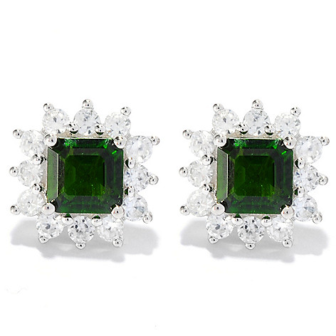 135-258 - Gem Treasures Sterling Silver Octagon Gemstone & White Zircon Frame Stud Earrings
