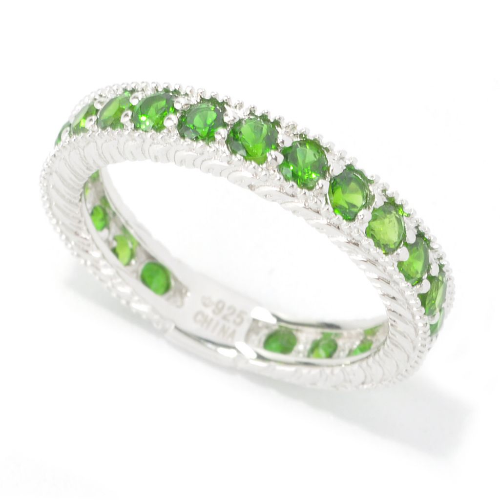 135-259 - Gem Treasures Sterling Silver Round Gemstone Milgrain Band Ring