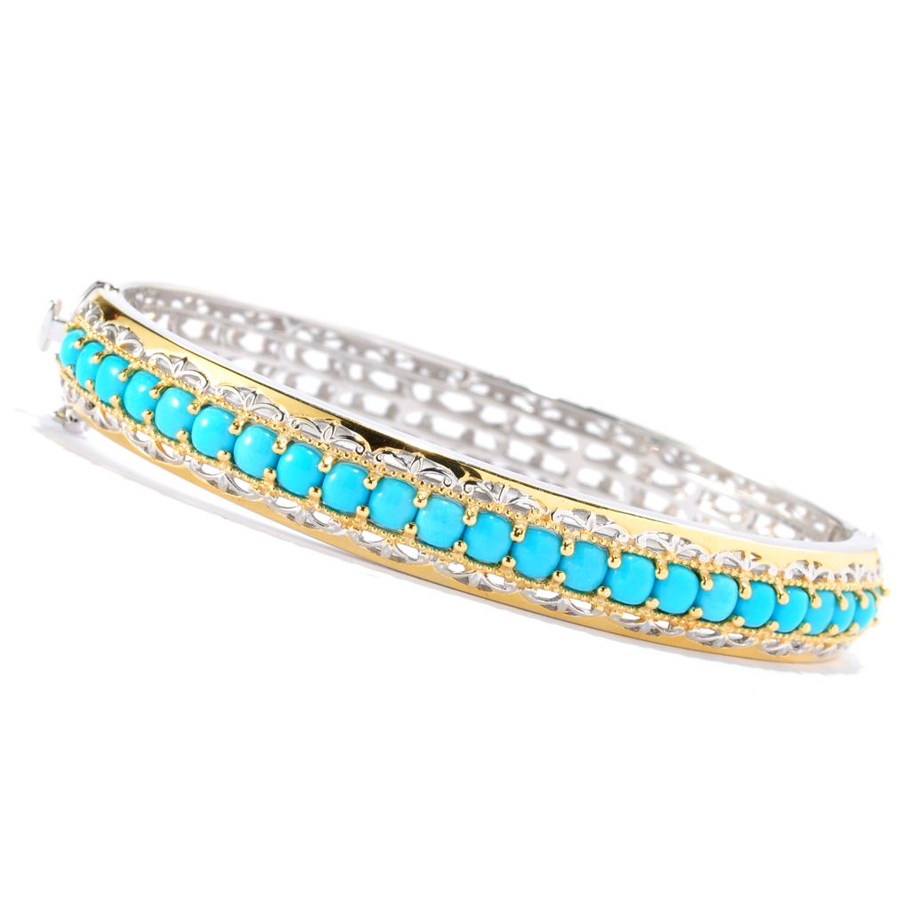 135-260 - Gems en Vogue II Cushion Shaped Sleeping Beauty Turquoise Hinged Bangle Bracelet