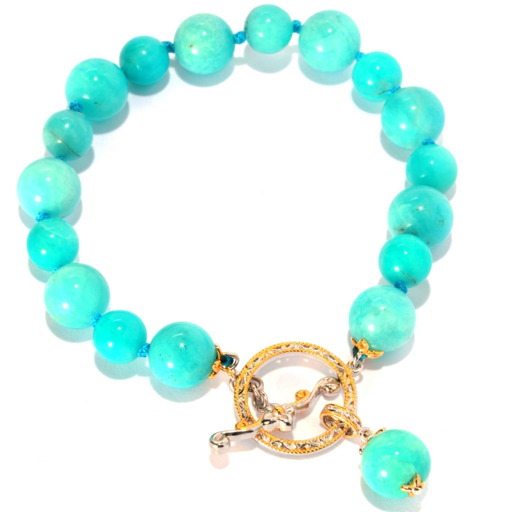 "135-261 - Gems en Vogue II 8"" 10mm Amazonite Bead Toggle Bracelet"