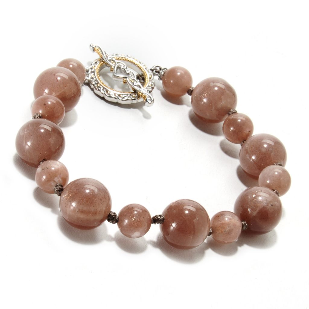 "135-264 - Gems en Vogue II 8"" Moonstone Bead Toggle Bracelet"