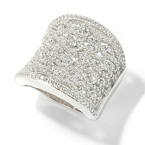 135-267 - Sonia Bitton Platinum Embraced™ 1.81 DEW Simulated Diamond Concave Wide Band Ring