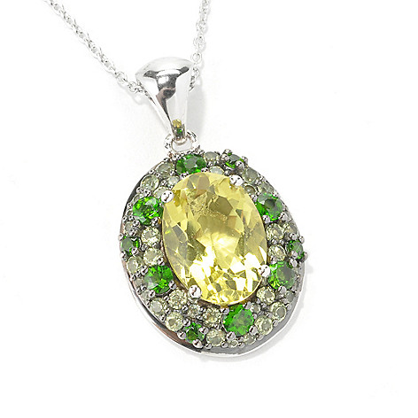 135-268 - NYC II Oval & Pave Set Multi Gemstone Pendant w/ 18'' Chain