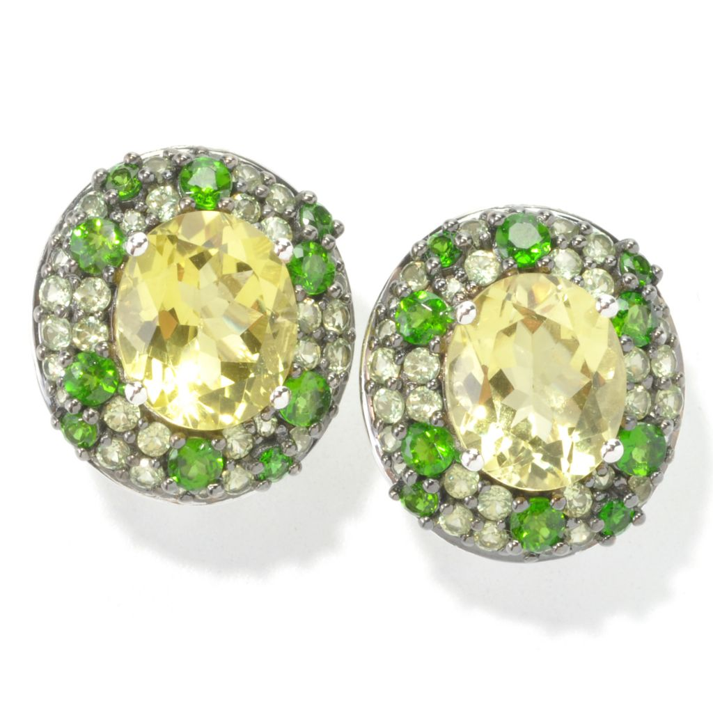 135-269 - NYC II Oval & Pave Set Multi Gemstone Stud Earrings w/ Omega Backs