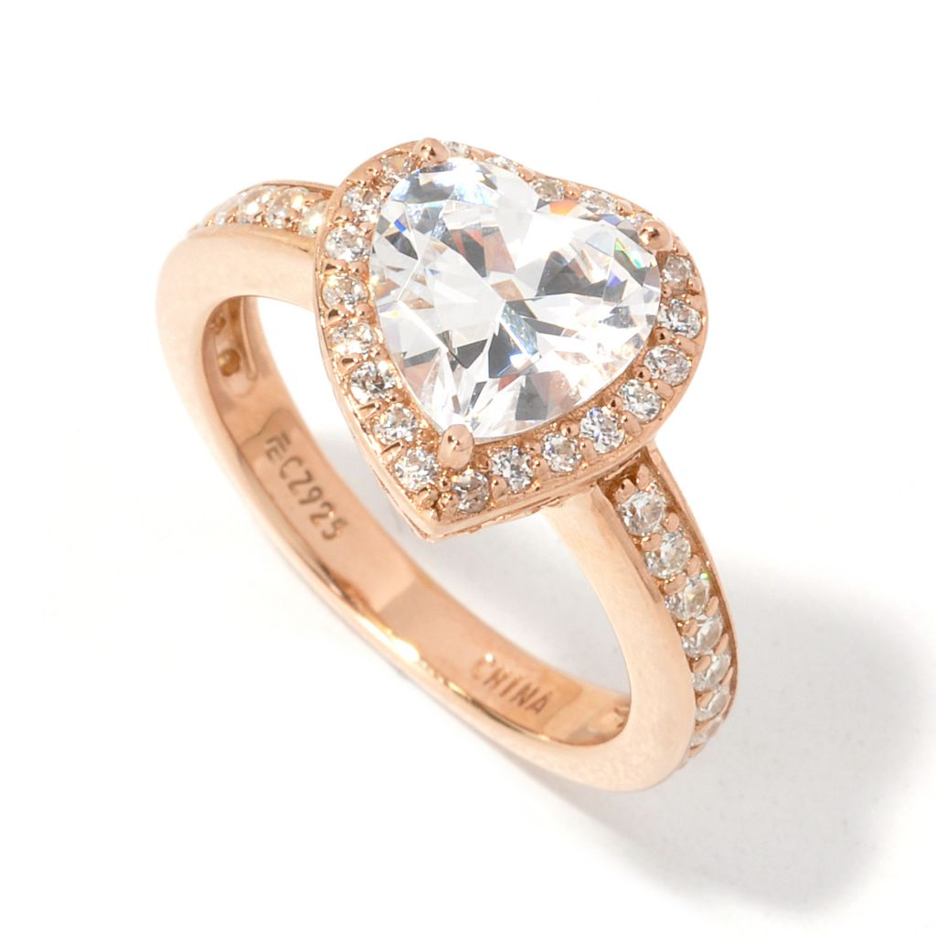 135-272 - Brilliante® 2.22 DEW Tilted Heart Cut Simulated Diamond Halo Ring