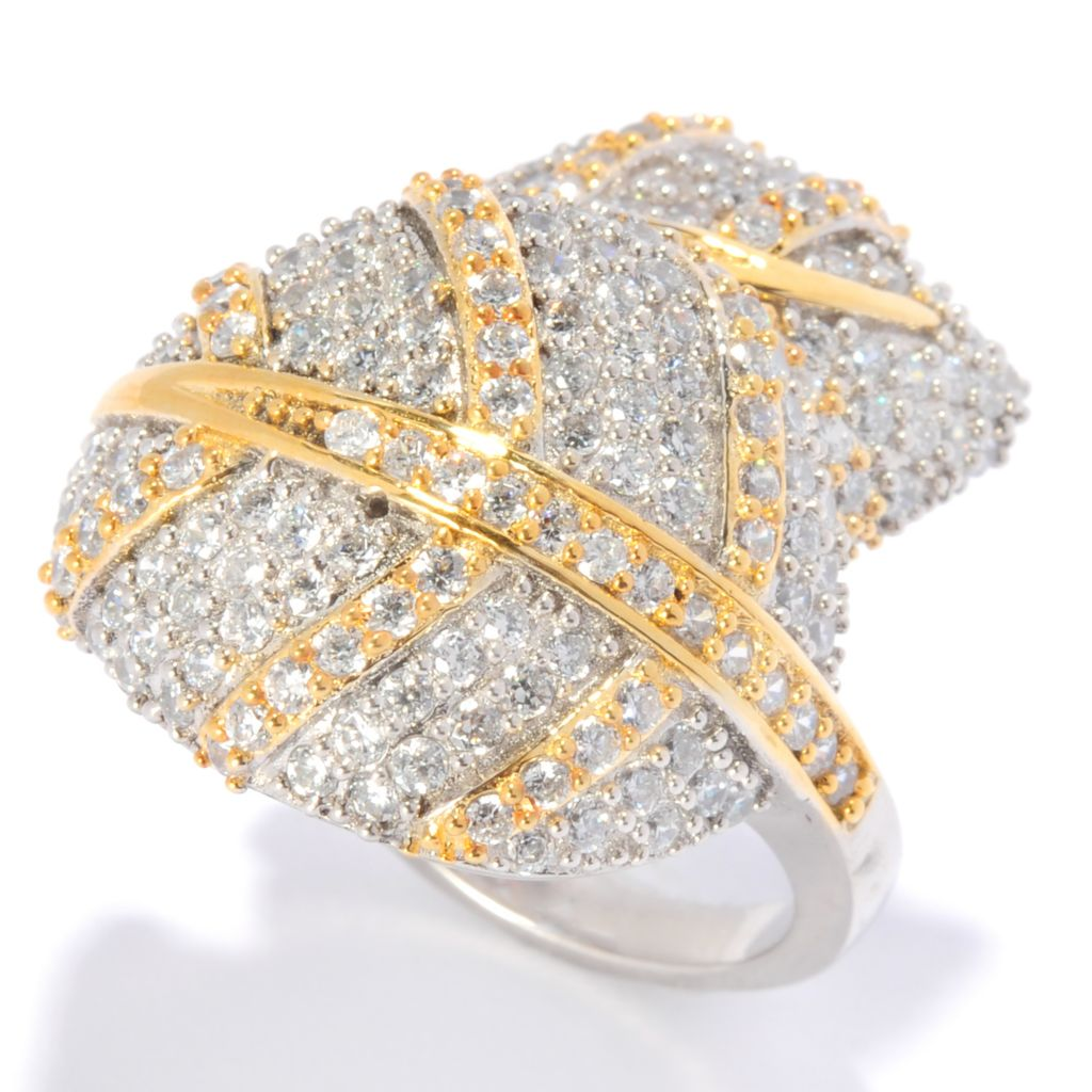 135-276 - Sonia Bitton Two-tone 3.08 DEW Simulated Diamond Overlapping Leaves Bypass Ring