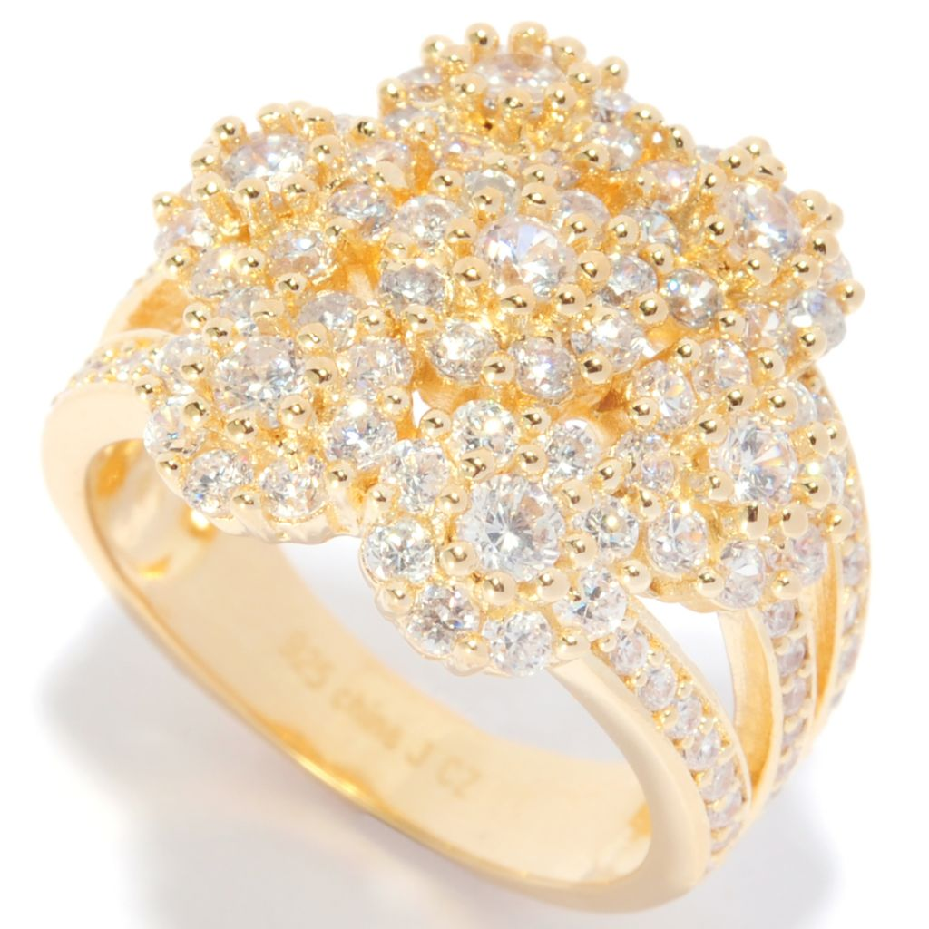 135-278 - Sonia Bitton 1.81 DEW Simulated Diamond Flower Cluster Split Shank Ring