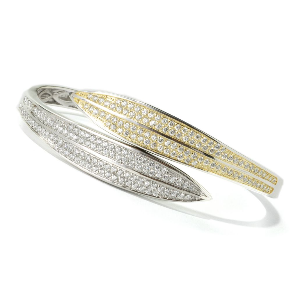 135-279 - Sonia Bitton Two-tone 2.92 DEW Simulated Diamond Double Leaf Hinged Bangle Bracelet