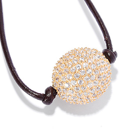 135-280 - Sonia Bitton 18'' 2.80 DEW Simulated Diamond Ball & Leatherette Cord Necklace