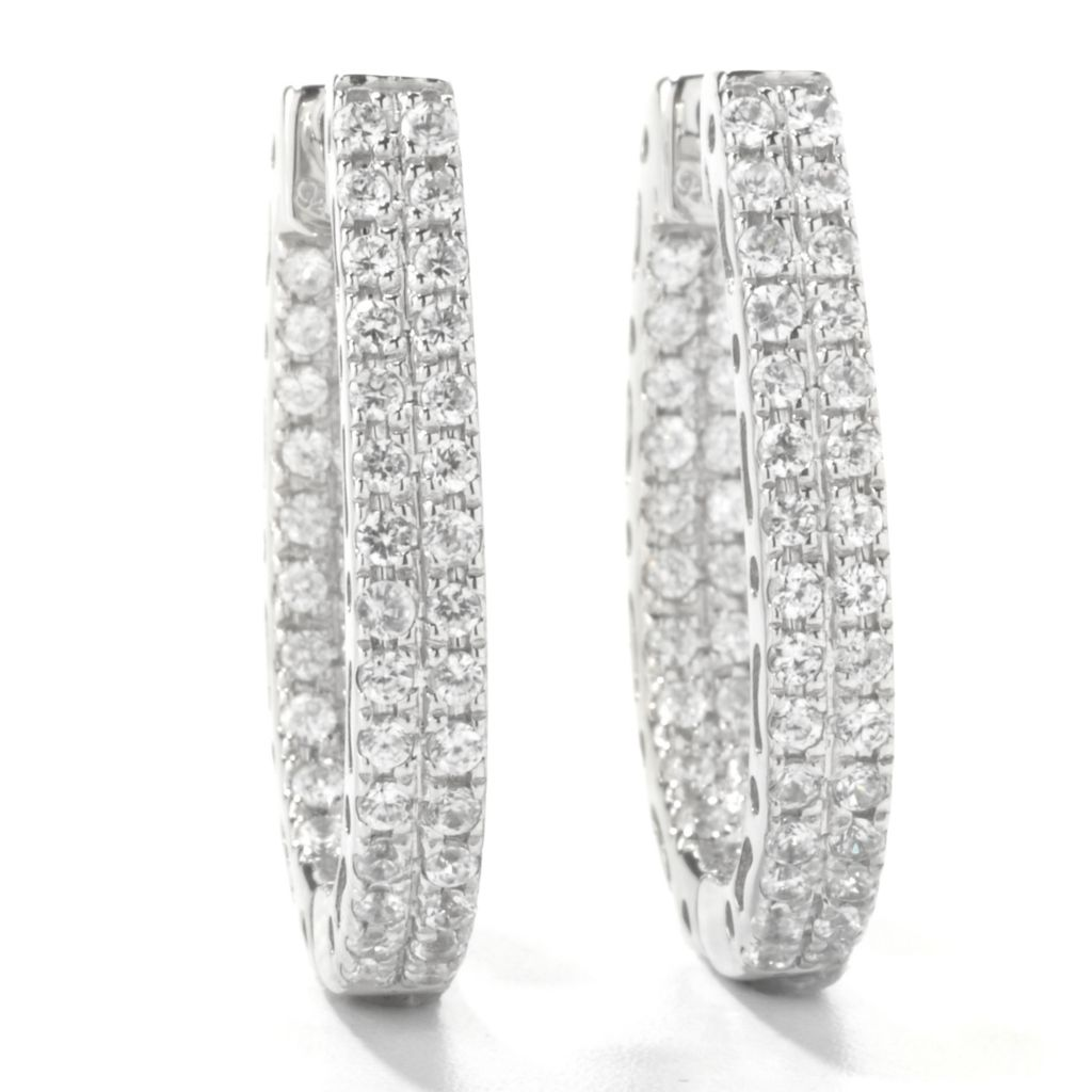 "135-281 - NYC II 2.20ctw White Zircon 1"" Inside-Out Horseshoe Hoop Earrings"