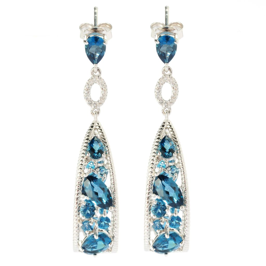 "135-282 - NYC II 1.75"" Gemstone & White Topaz Inside-Out Teardrop Earrings"