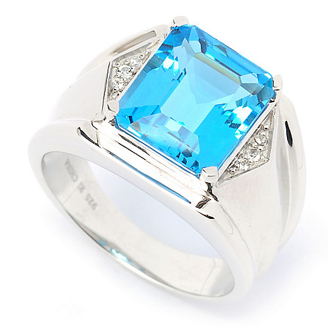 135-283 - Gem Treasures Men's Sterling Silver 6.44ctw Swiss Blue Topaz & White Topaz Ring