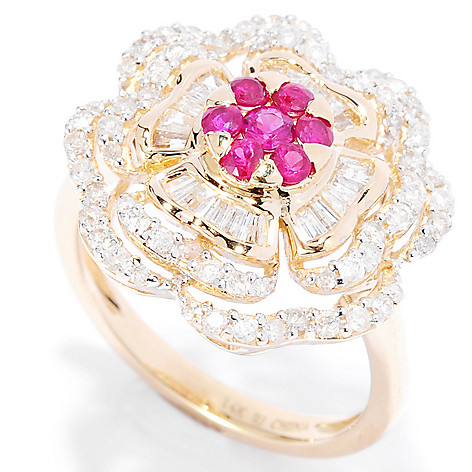 135-285 - Gem Treasures 14K Gold 2.85ctw Ruby & Diamond Multi Layer Flower Ring