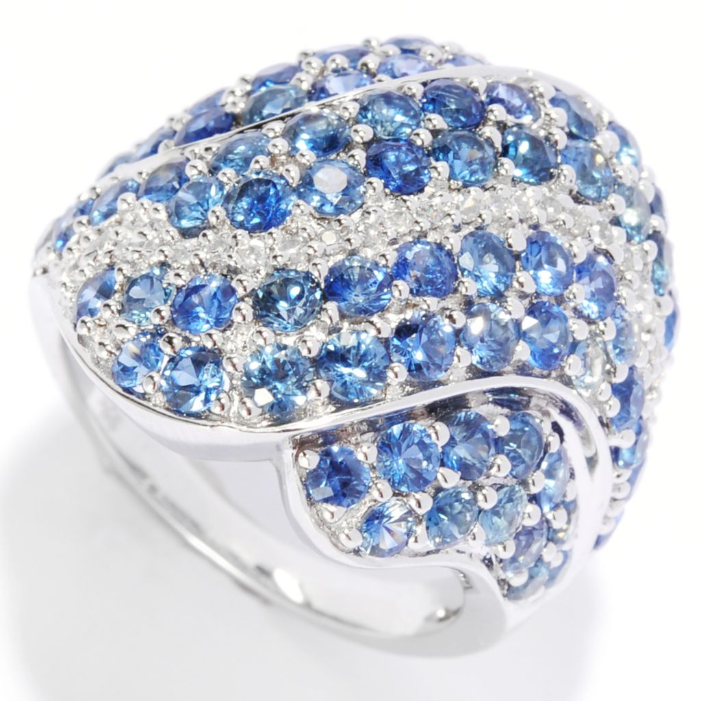135-286 - Gem Treasures Sterling Silver 4.12ctw Sapphire & White Zircon Multi Wave Ring