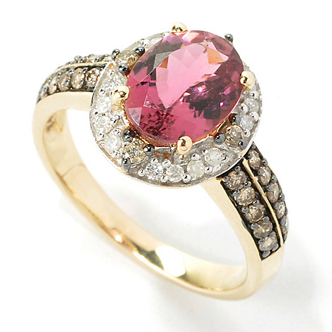 135-287 - Gem Treasures 14K Gold 1.66ctw Pink Tourmaline & Champagne & White Diamond Halo Ring
