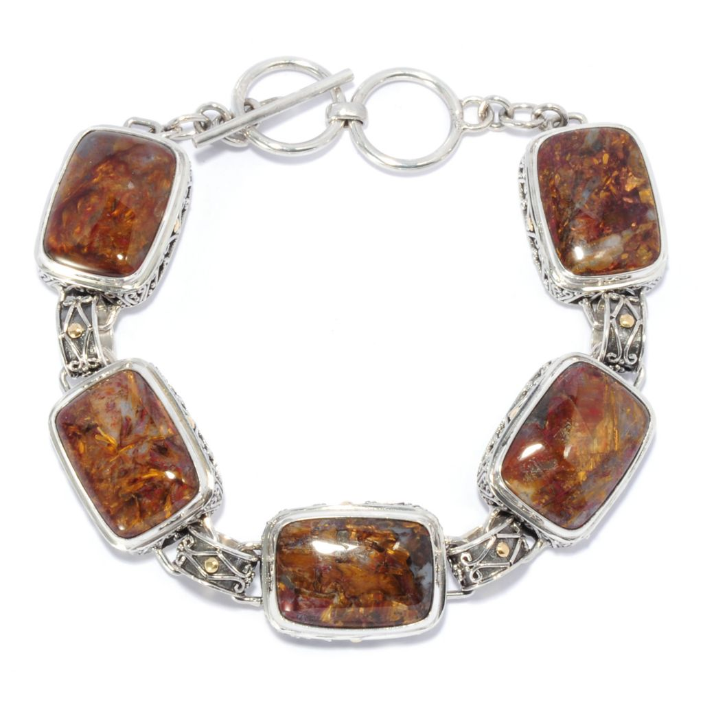 "135-293 - Artisan Silver by Samuel B. 8"" 18 x 13mm Pietersite Link Toggle Bracelet"
