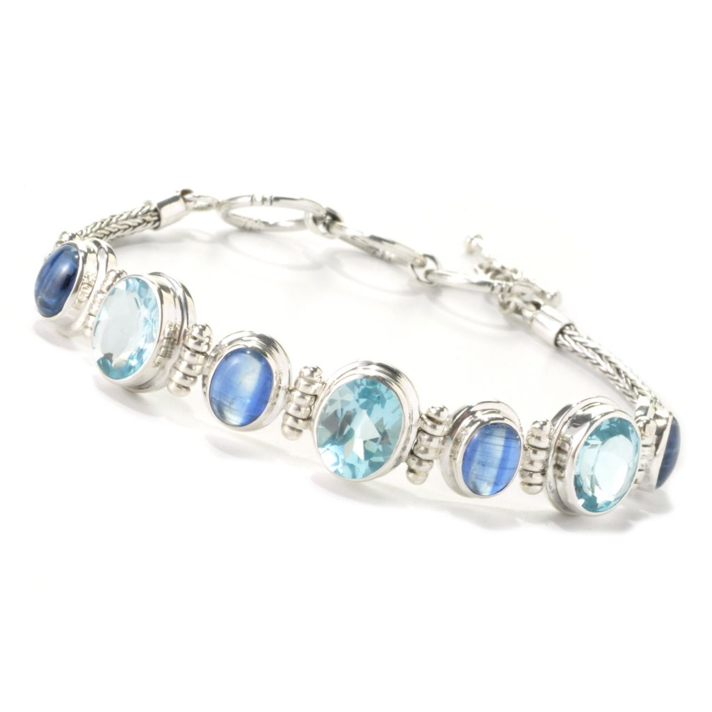 "135-294 - Artisan Silver by Samuel B. 7.25"" Blue Topaz & Kyanite Station Toggle Bracelet"