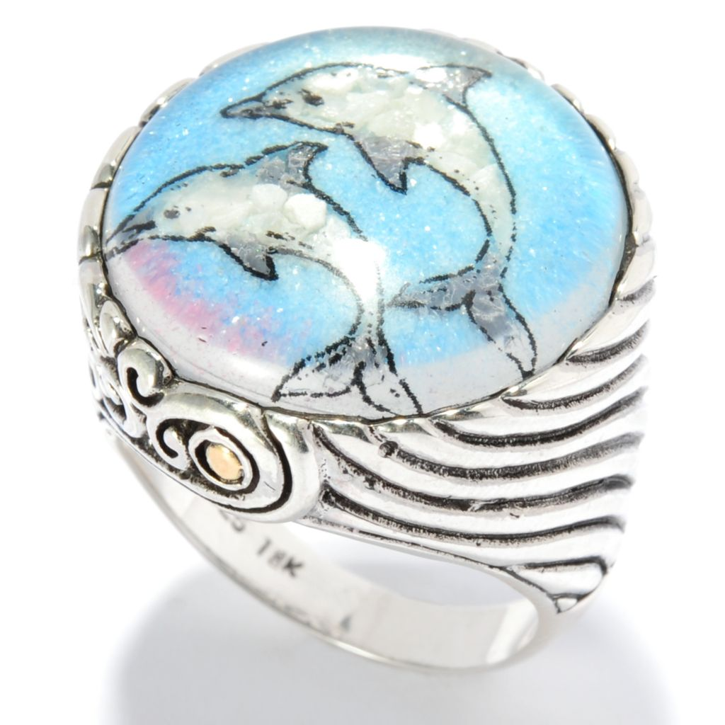 135-307 - Artisan Silver by Samuel B. Crushed Gemstone Animal Ring