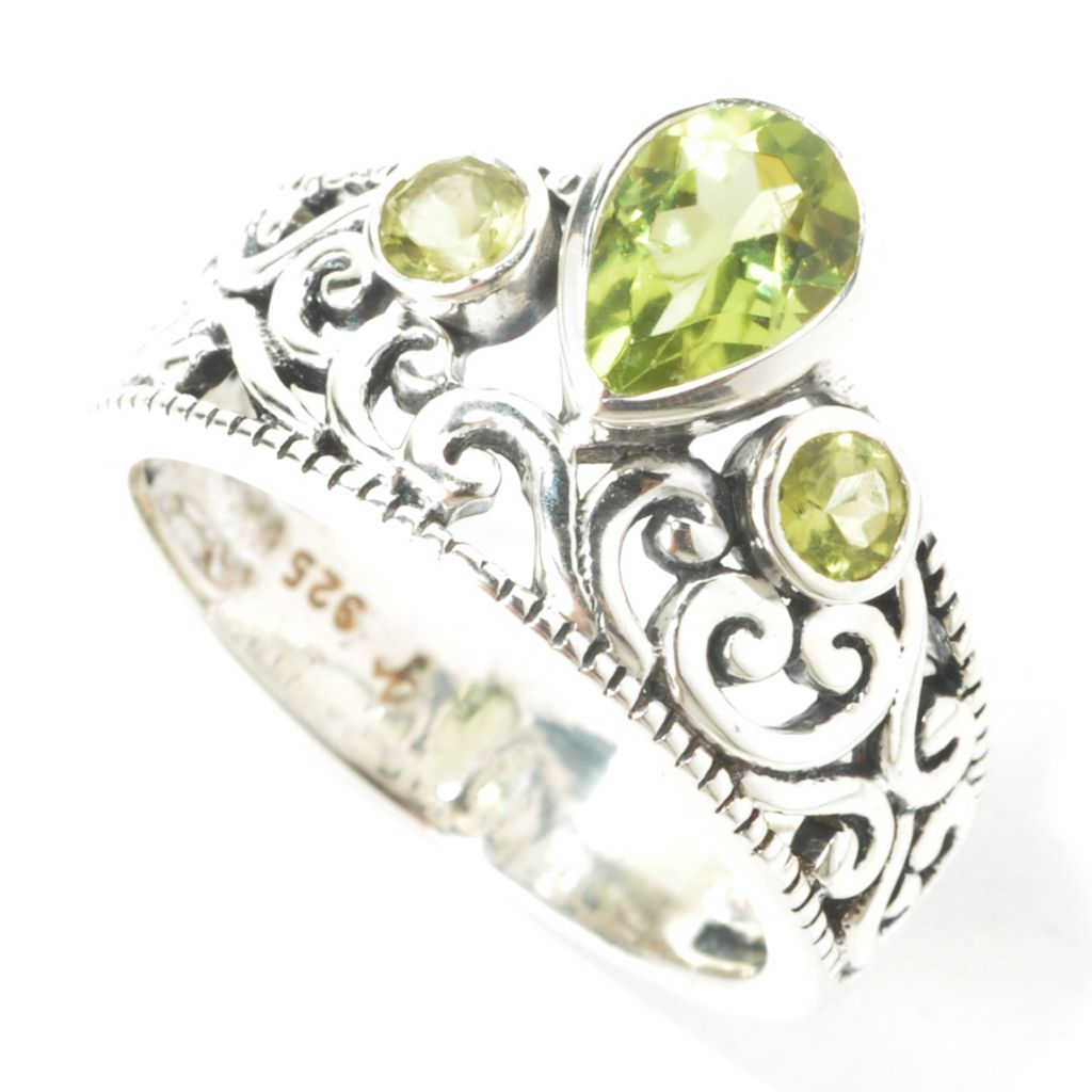 135-308 - Artisan Silver by Samuel B. Teardrop & Round Three-Stone Swirl Ring