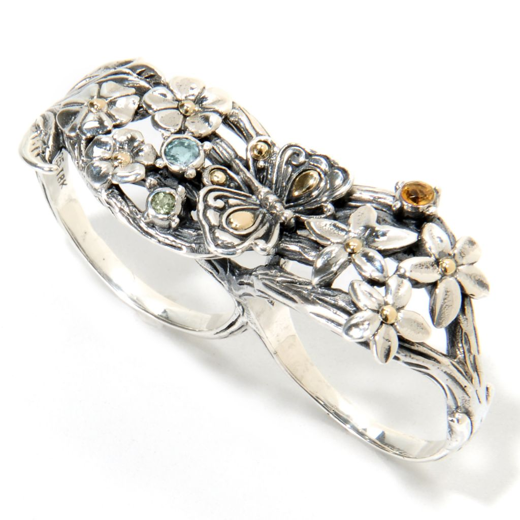 135-312 - Artisan Silver by Samuel B. Topaz, Peridot & Citrine Floral Two-Finger Ring